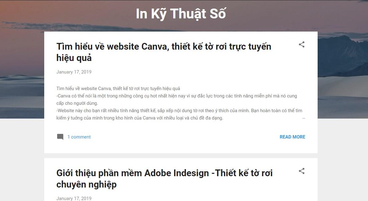 Blogspot của InKyThuatSo đăng tải nhiều bài blog thú vị
