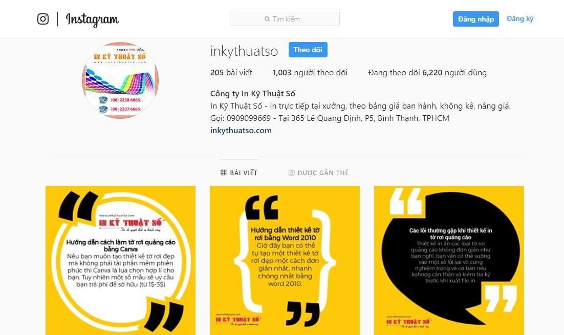 Instagram của InKyThuatSo cung cấp những giải pháp in ấn hữu ích nhất cho khách hàng