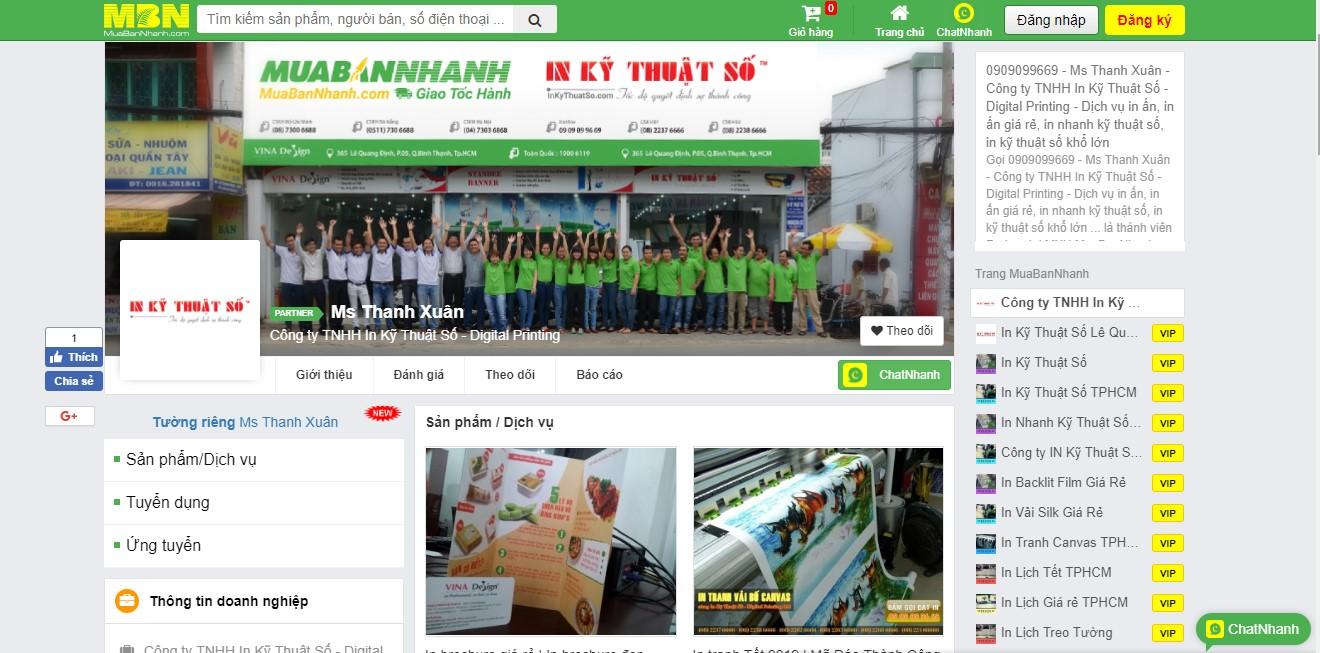 Website MuaBanNhanh hỗ trợ InKyThuatSo bán hàng hiệu quả