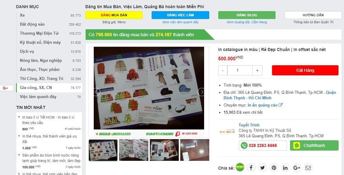 Đặt in Catalogue nhanh trên website muabannhanh.com