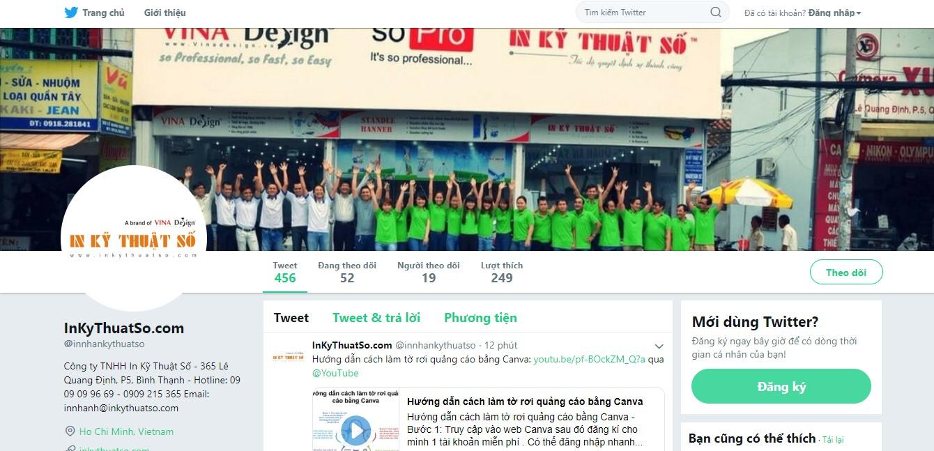 Trang Twitter của InKyThuatSo cập nhật nhanh nhất tin tức, tips in ấn hay