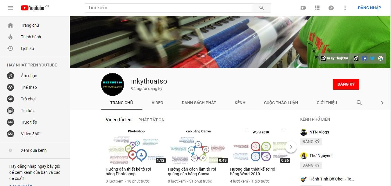 Trang thông tin hữu ích Youtube của InKyThuatSo