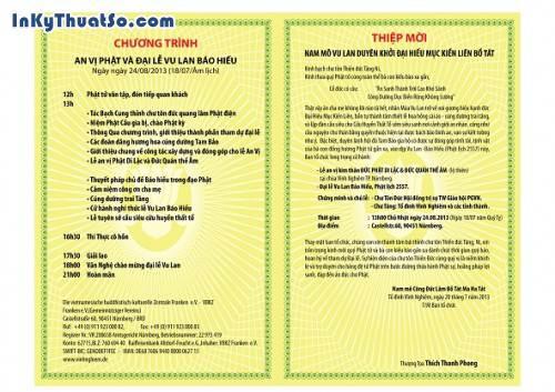 Thiệp mời lễ Vu Lan Bồn của chùa Vĩnh Nghiêm do InKyThuatSo thực hiện